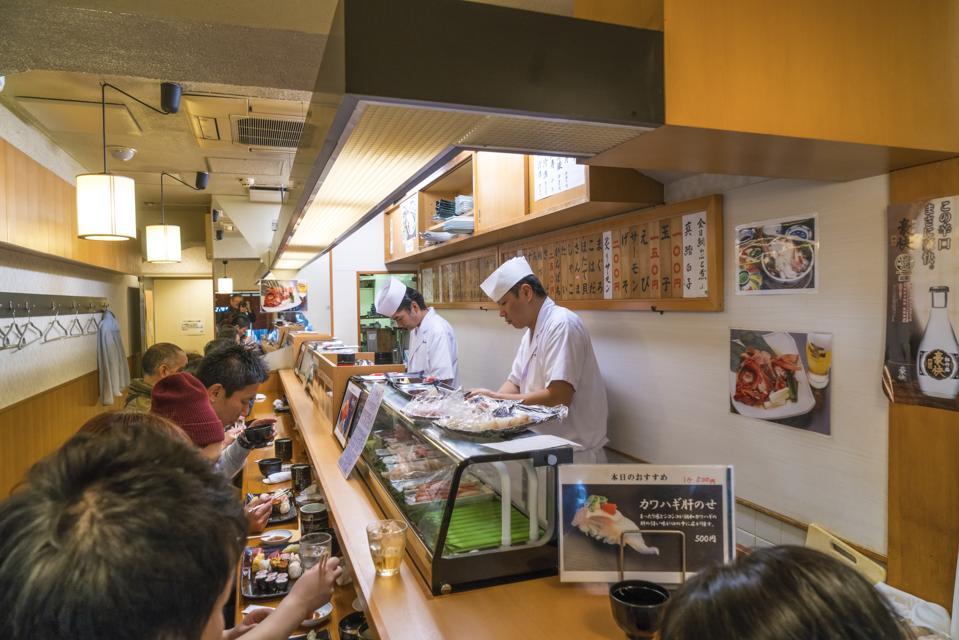 Sushi restaurant. Tsukiji Central Fish Market. Tokyo. Japan