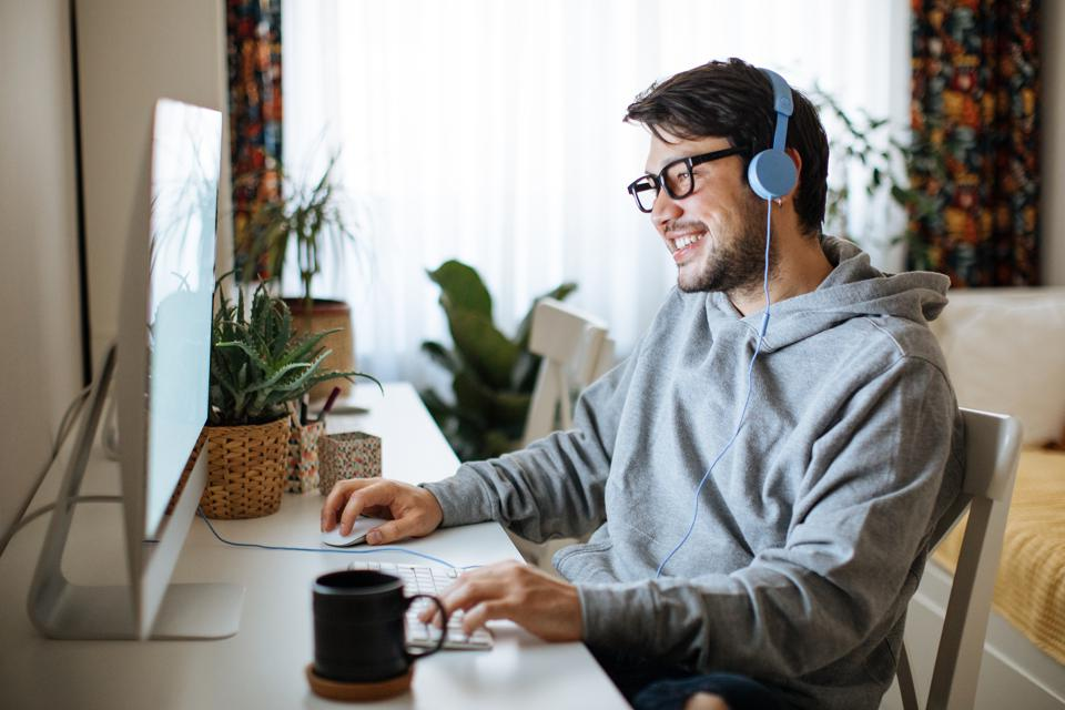 Young men working from home