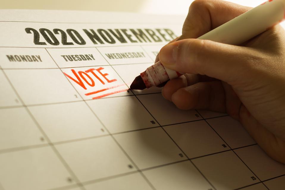 USA Presidential Vote reminder written on a 2020 November calendar.