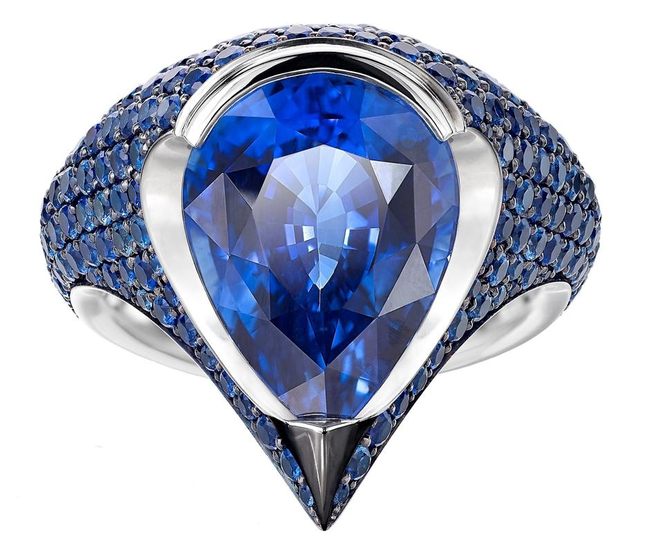 Sapphire Shield Ring, with a 10.53-carat sapphire, sapphire pavé set in platinum, $199,800