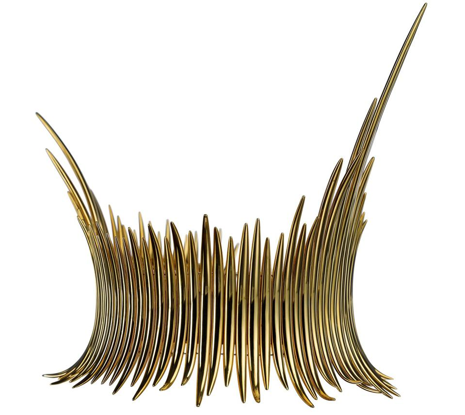 Couture Quill Choker in 18k yellow gold vermeil by Shaun Leane, $17,400