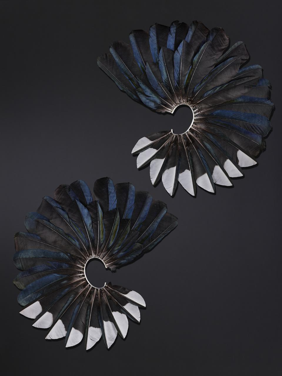 Couture Magpie Feather Fan earrings by Shaun Leane