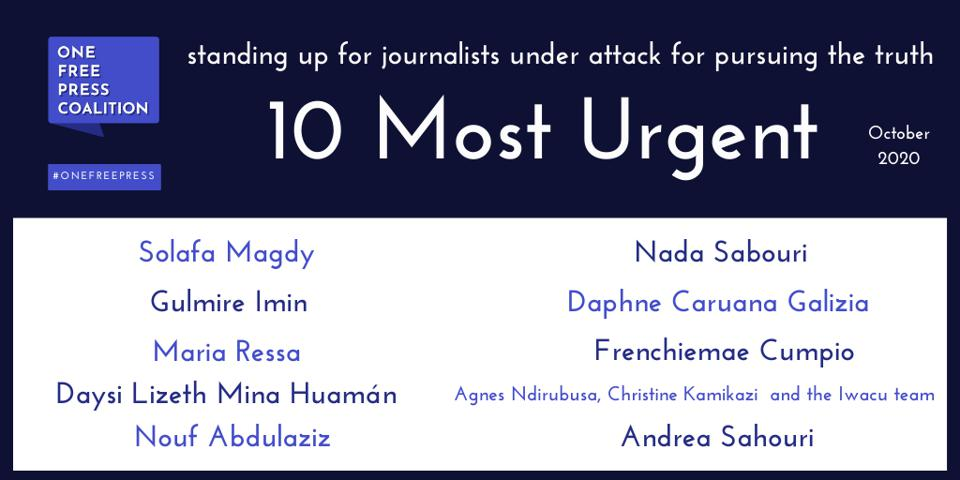 The One Free Press October '10 Most Urgent' List
