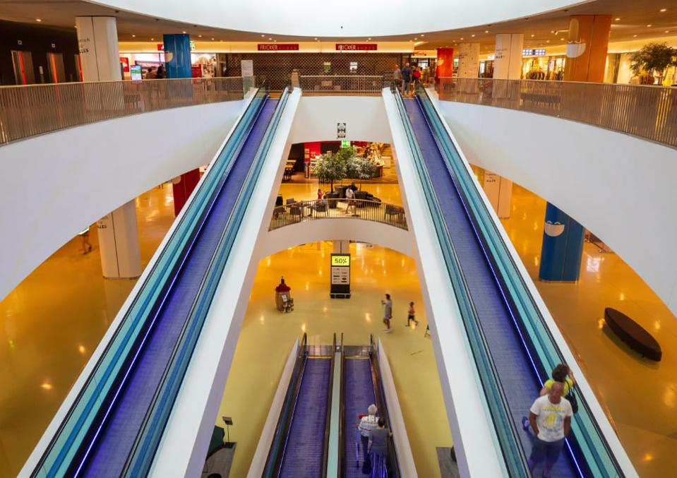 An almost-empty shopping mall.