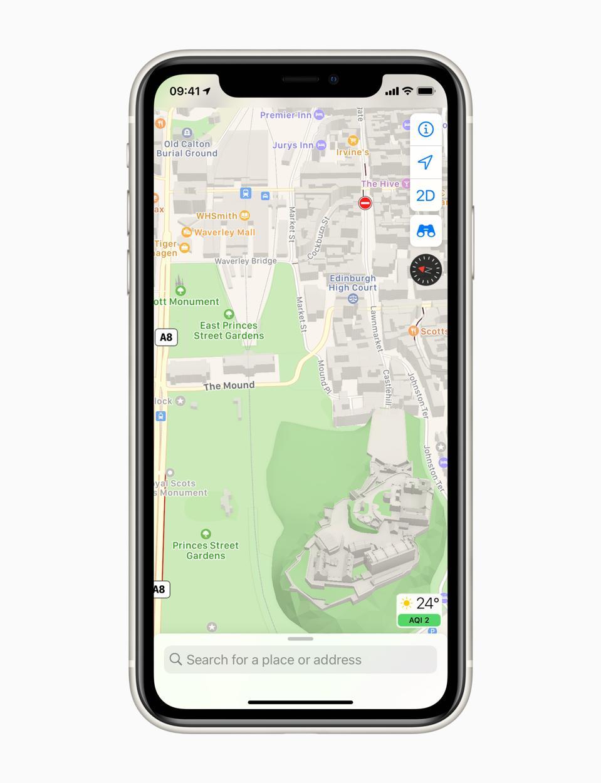 Edinburgh as it looks on the new, updated Apple Maps.