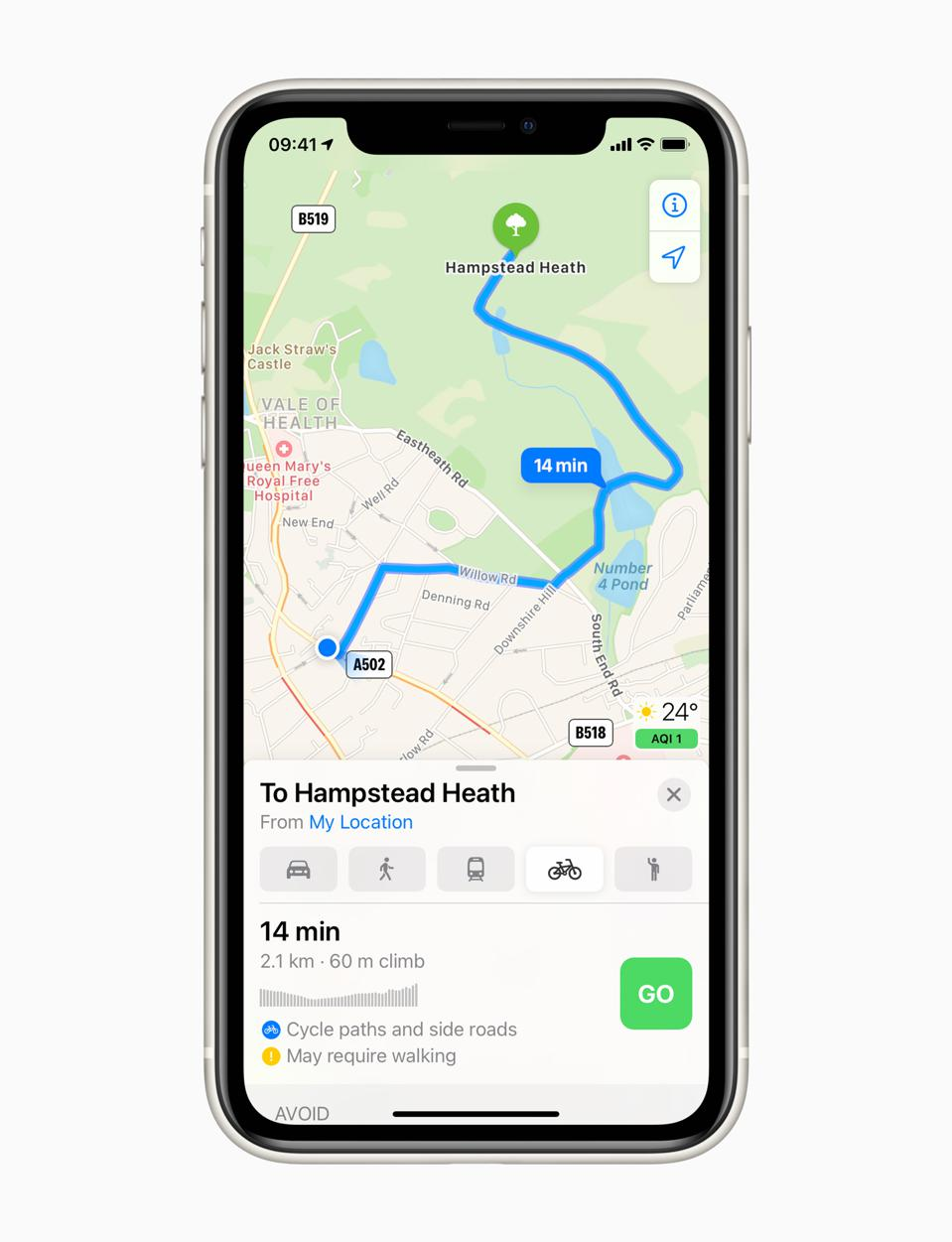 At last, cycling routes in Apple Maps iOS 14.