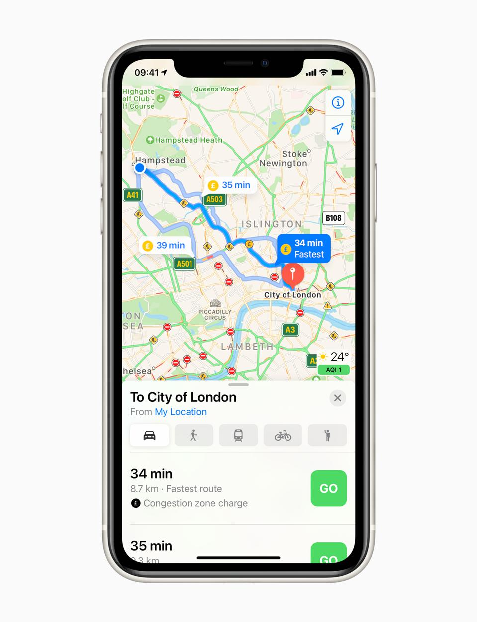The new Apple Maps includes Congestion Charge information in London.