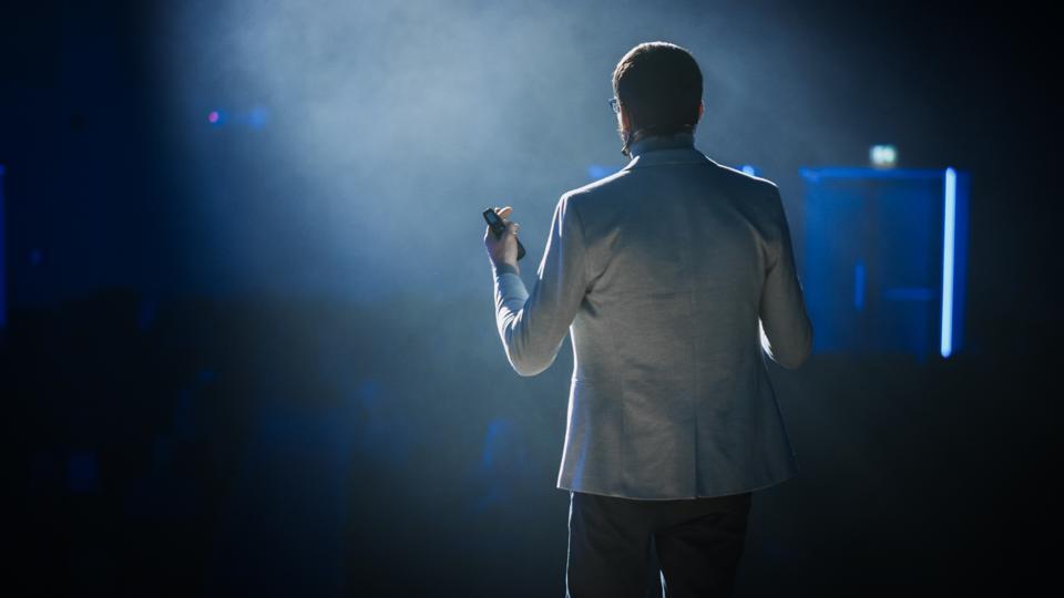 On Stage: Successful Motivational Speaker