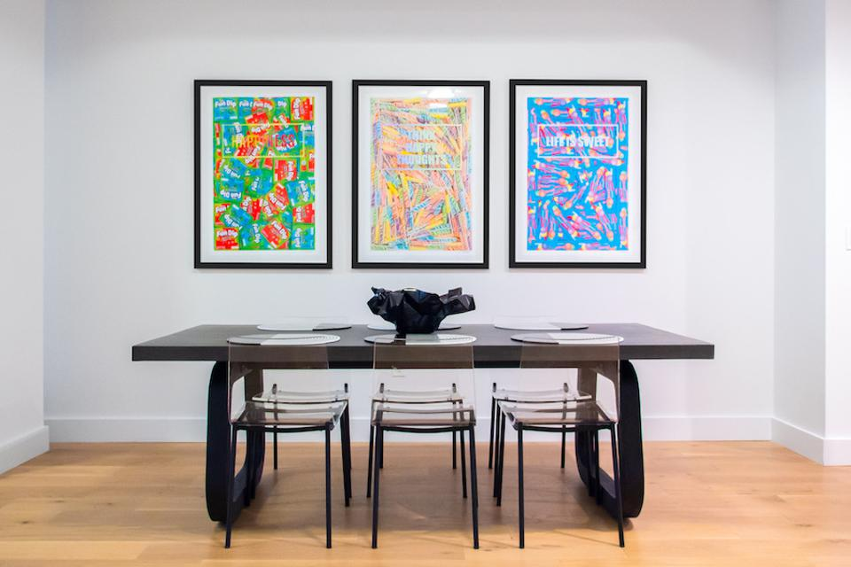 robyn blair candy art prints in an office