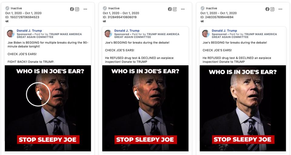 Trump campaign Facebook ads include photos of Democratic nominee Joe Biden edited to include an AirPod, asking ″Who's In Joe's Ear?″