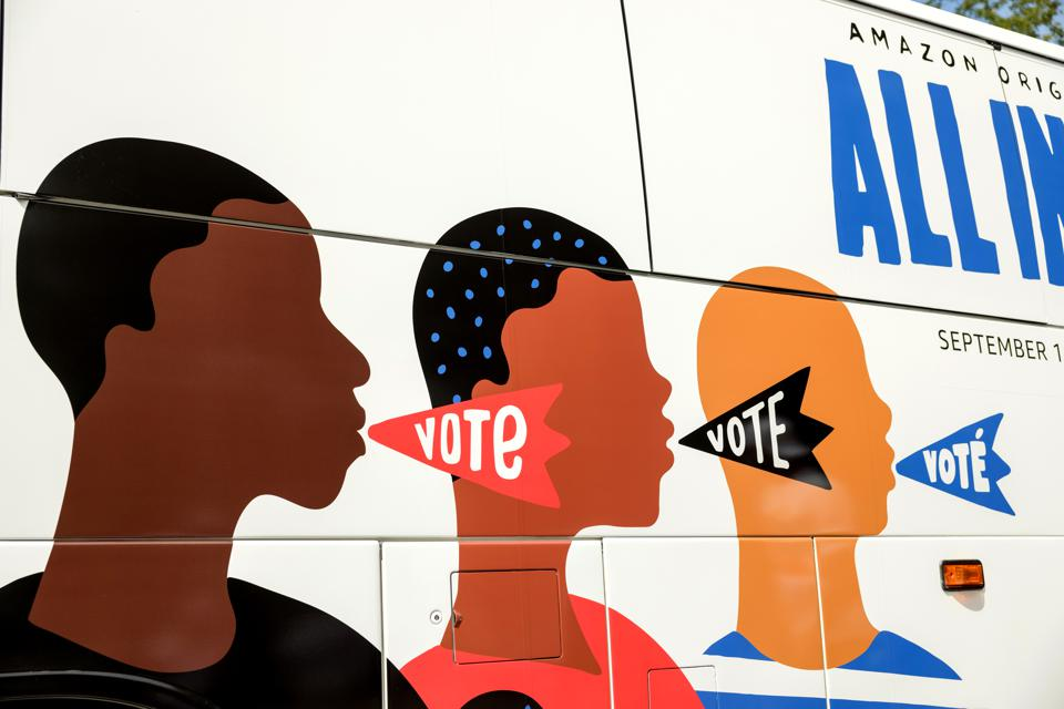 Mural on bus for All In film Stacey Abrams