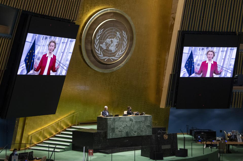 Ursula Von Der Leyen, the President of the European Union Commission, speaking at the General Assembly meeting on the twenty-fifth anniversary of the Fourth World Conference on Women.
