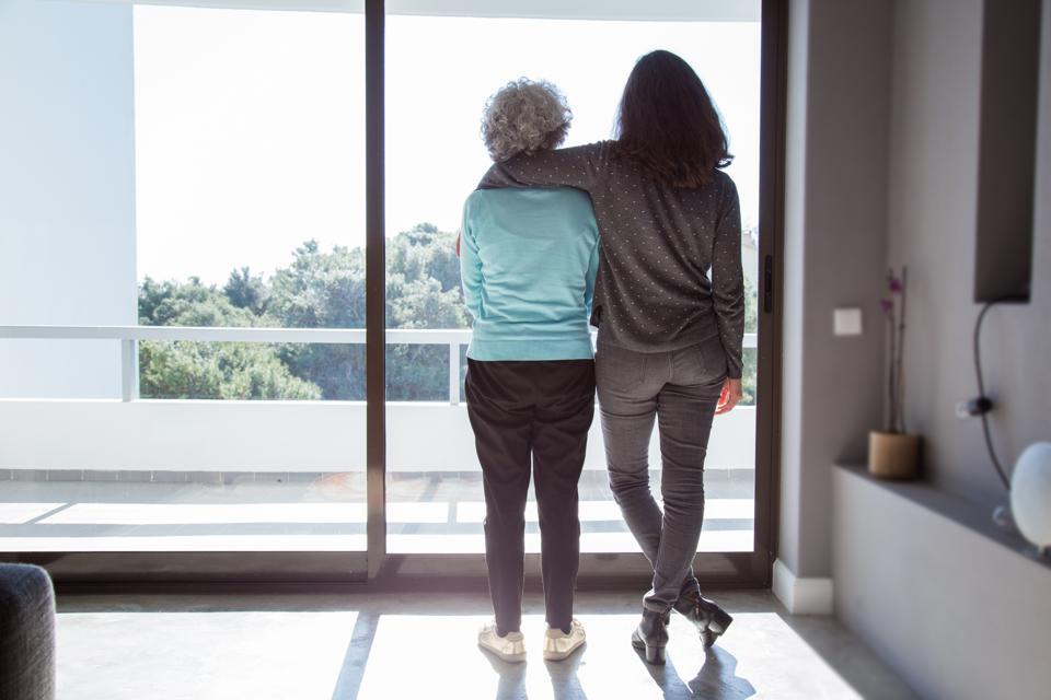 Girl visiting grandma