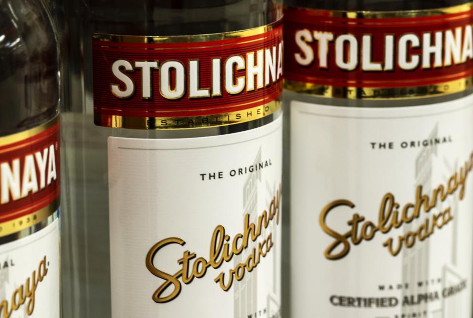 Bottles of Stolichnaya vodka