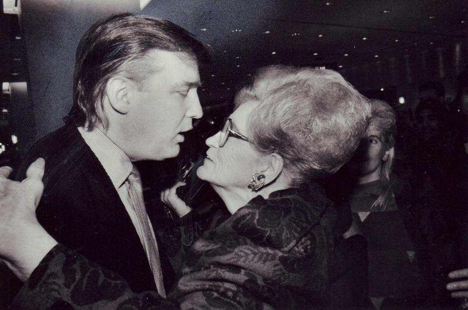 Donald Trump kisses his mother Mary Trump