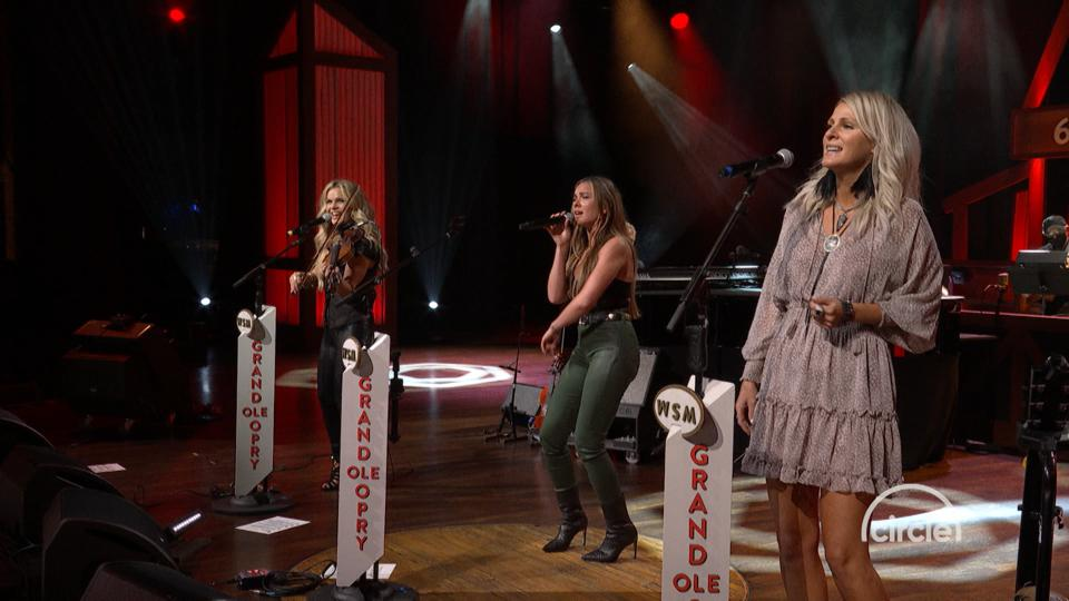 Members of Runaway June performing at Grand Ol' Opry for Circle Network