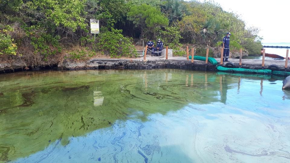 7 August 2020: Within a day of the oil spill, the entire ocean surrounding Ile aux Aigrettes became discolored, as Government workers look on as they put up artisanal oil protection booms