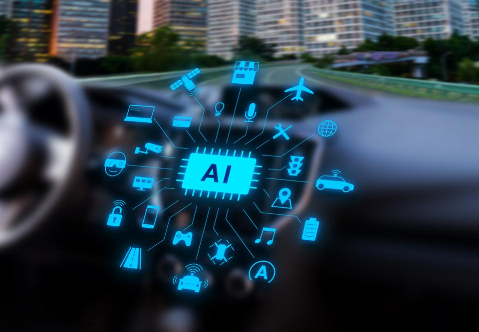 Image of a vehicle highlighting software and artificial intelligence.