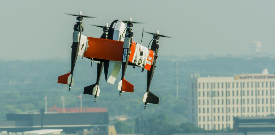 Bell's APT 70 cargo drone flies in urban airspace in the Dallas Fort-Worth area.