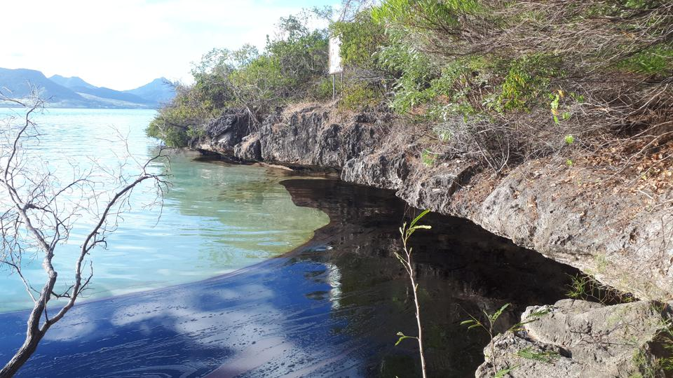 7 Aug 2020: By the second day, the oil immediately started washing up against Ile aux Aigrettes into the porous rocks and potentially into the ground water