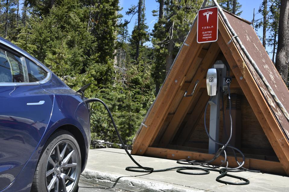 Tesla battery charging station at Crater Lake National Park in Oregon, USA