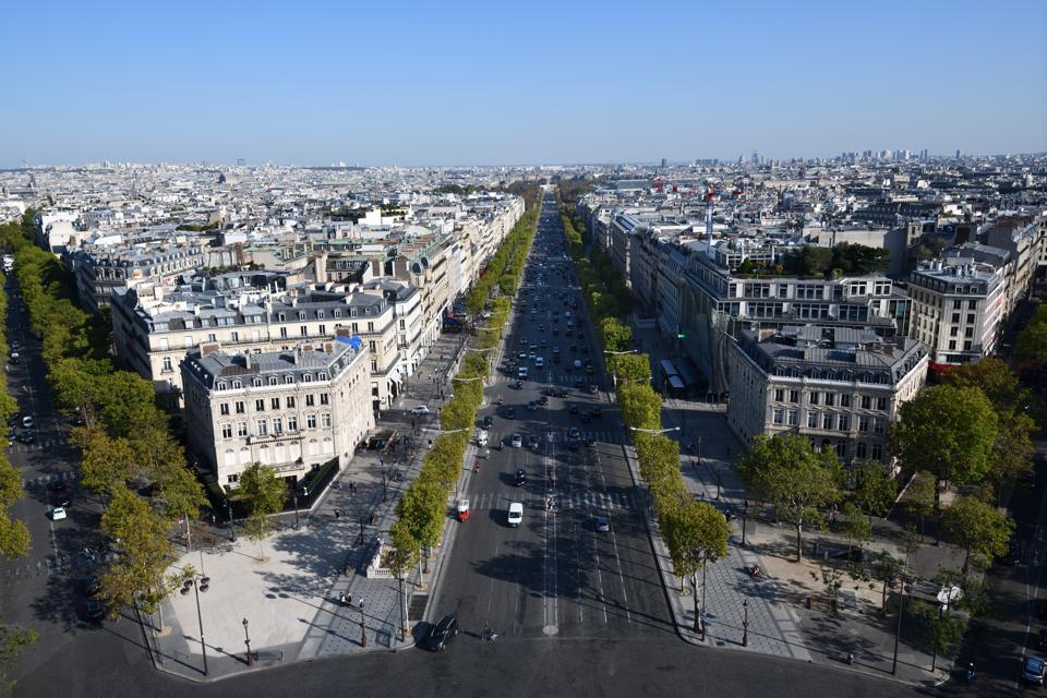 A very empty Champs-Élysées, seen from Arc de Triomphe in Paris, France