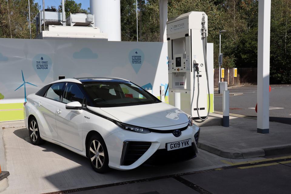 Toyota Mirai at hydrogen refueling station