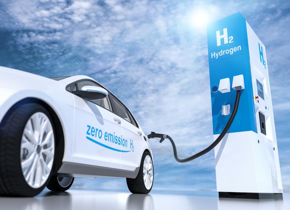 hydrogen logo on gas stations fuel dispenser. h2 combustion engine for emission free ecofriendly transport