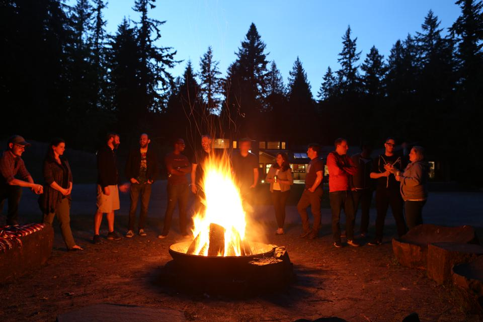ProbablyMonsters fire pit with staff