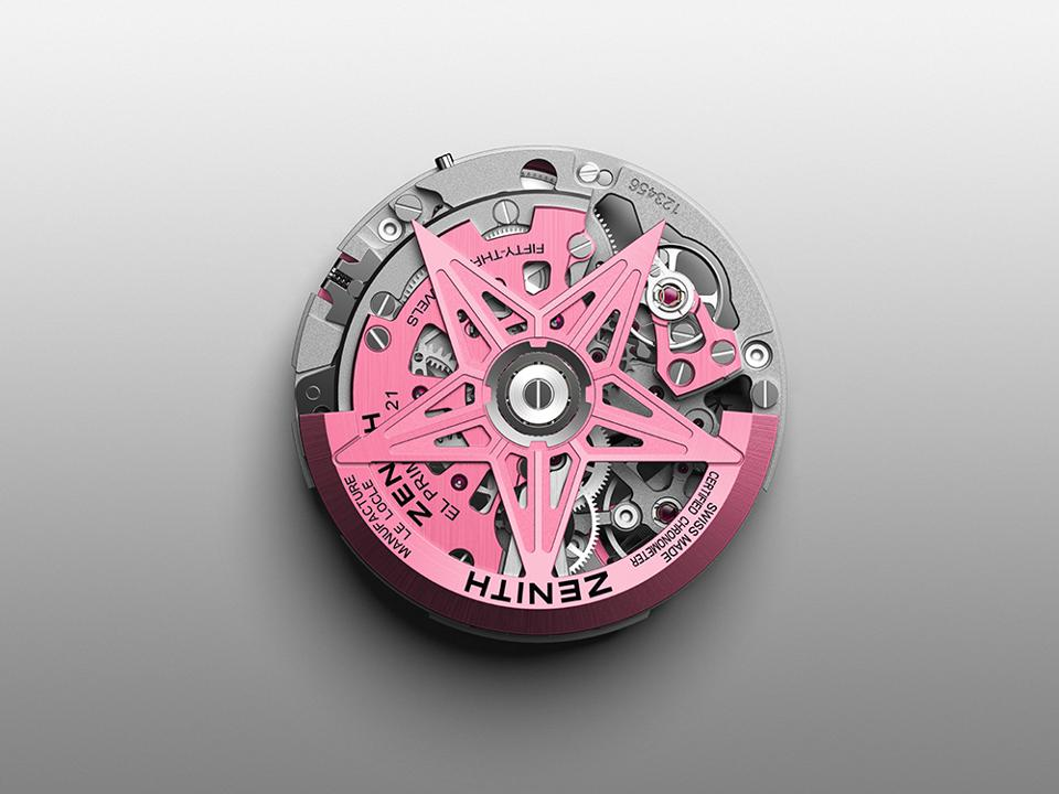 The movement is given a pink PVD finish.