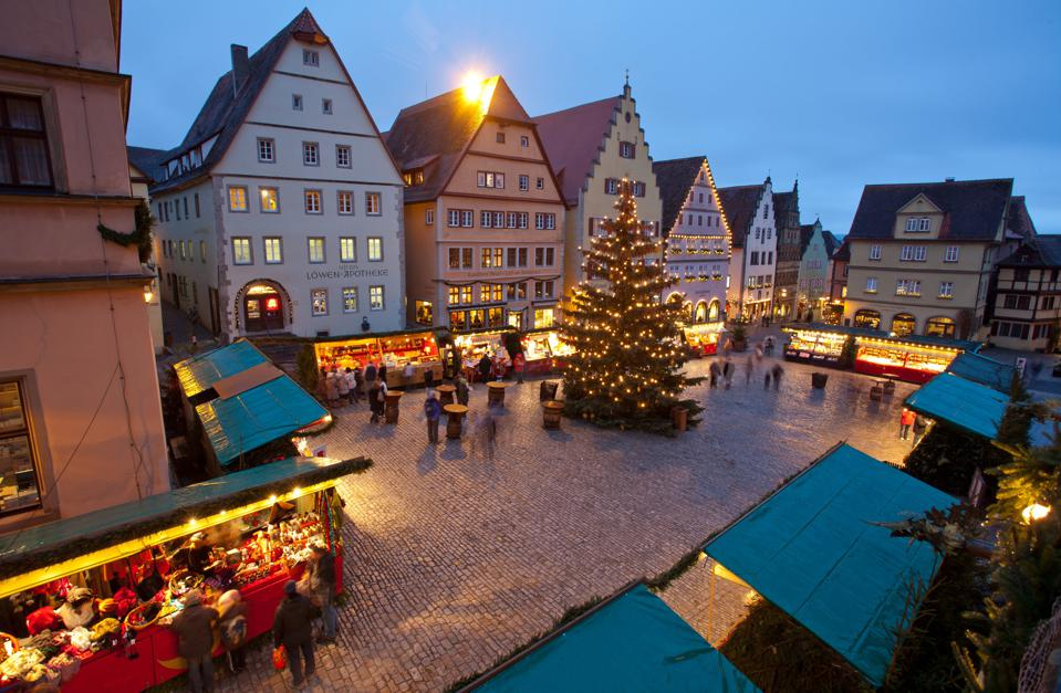 The streets  illuminated for Christmas in Rothenburg, Germany
