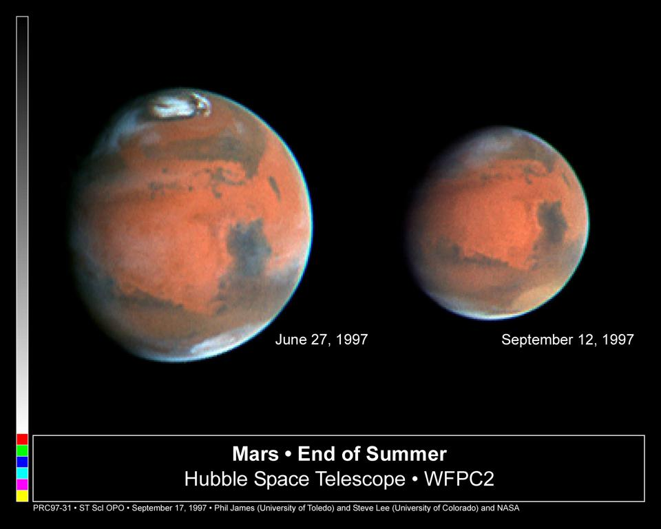 Two views of Mars, from the Hubble Space Telescope in 1997.