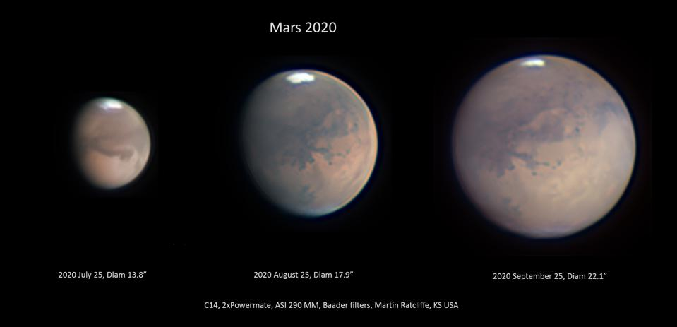 The progression of Mars and its icecaps and seasons as it nears closest approach in 2020.