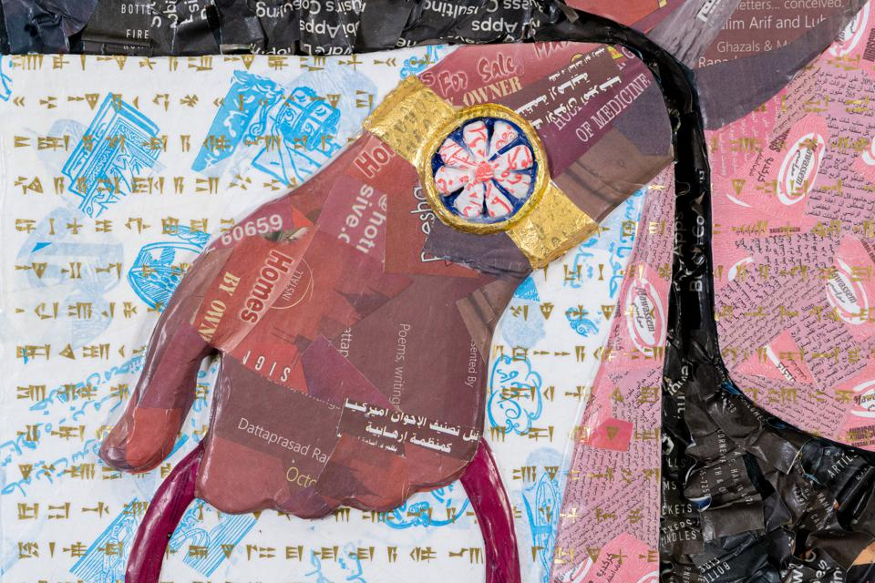 Michael Rakowitz (Detail of new work, on view for the first time, commissioned by the Ruth and Elmer Wellin Museum of Art at Hamilton College.) Panel H - 13, Room H, Northwest Palace of Nimrud, from the series The Invisible Enemy Should Not Exist , 2020. Middle Eastern food packaging and newspapers, with glue on panel, 90 1⁄2 x 76 3⁄8 x 3 3⁄4 in. The project was underwritten by a grant from the Daniel W. Dietrich '64 Fund for Innovation in the Arts.