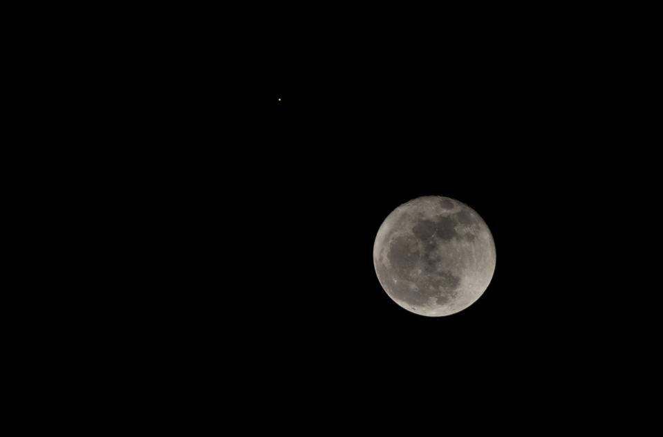 October 2, 2020, the nearly full Moon and Mars approached to within less than 1 degree.