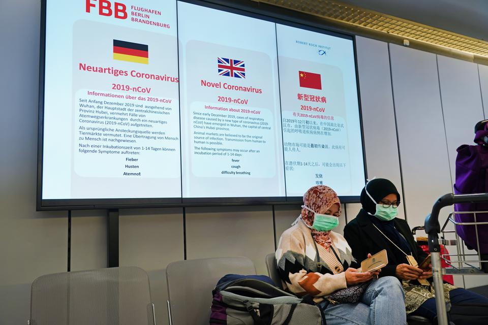 Tegel Airport before the Trump European travel ban went into effect on March 13, 2020 in Berlin, Germany.