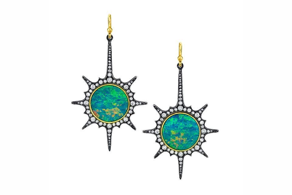 Arman Sarkisyan earrings in 22K gold and silver with 6.04 carats opal and 1.44 carats diamond, $14,610, armansarkisyan.com