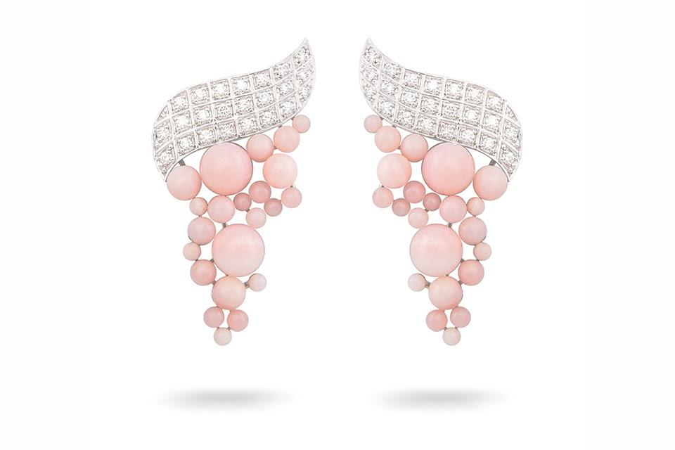 Ananya Lotus earrings in 18K white gold with 10.42 carats pink opal, and 0.55 carats diamond, $5,000, ananya.com
