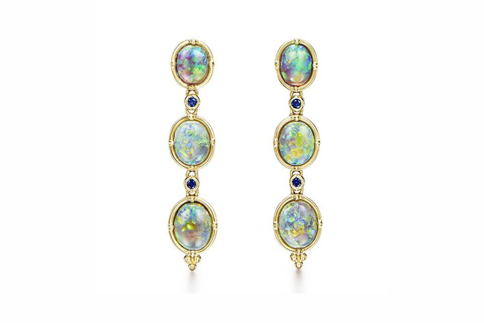 Temple St Clair Cascade earrings in 18K gold with 36.5 carats black opal, 1.31 carats opal, and .2 carats blue sapphire, $38,000, templestclair.com