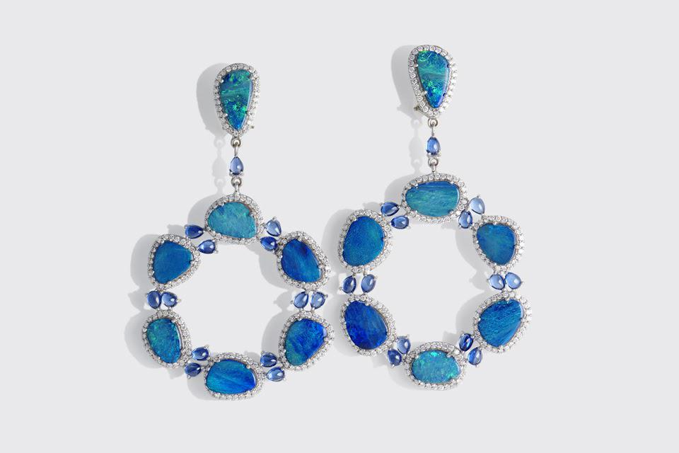 Sanjay Kasliwal Anup earrings in 18K white gold with 17.53 carats blue opal, 6.08 carats tanzanite, and 1.10 carats diamond, $12,000, sanjaykasliwal.com