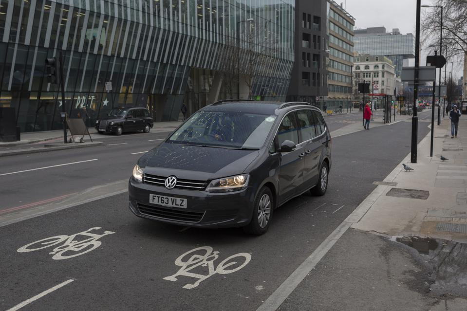 Car Driving In Cycle Lane
