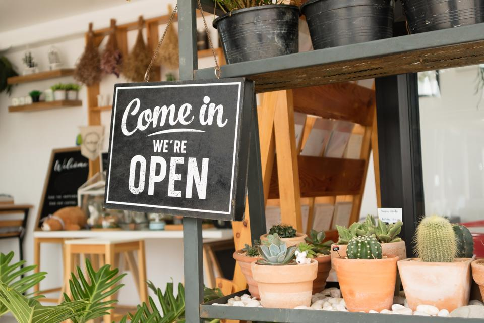 Open sign board hanging on a black shelf in a small shop with cacti