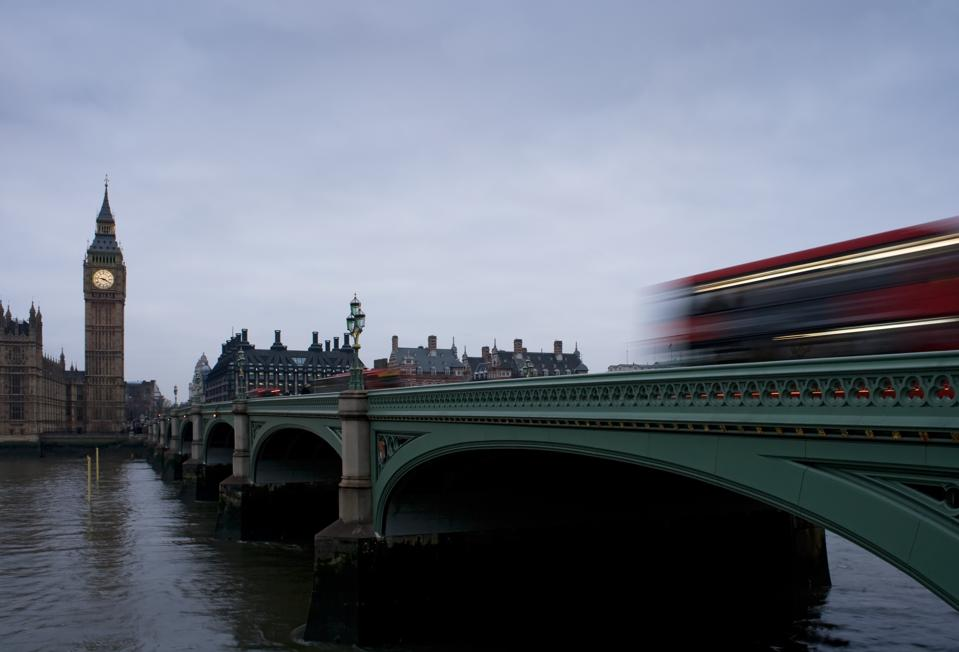 Westminster Bridge in the foreground, Big Ben and Parliament in the distant view