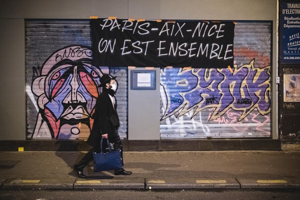 Bar Owners Paris France Protest Against New COVID-19 Measures forcing closure