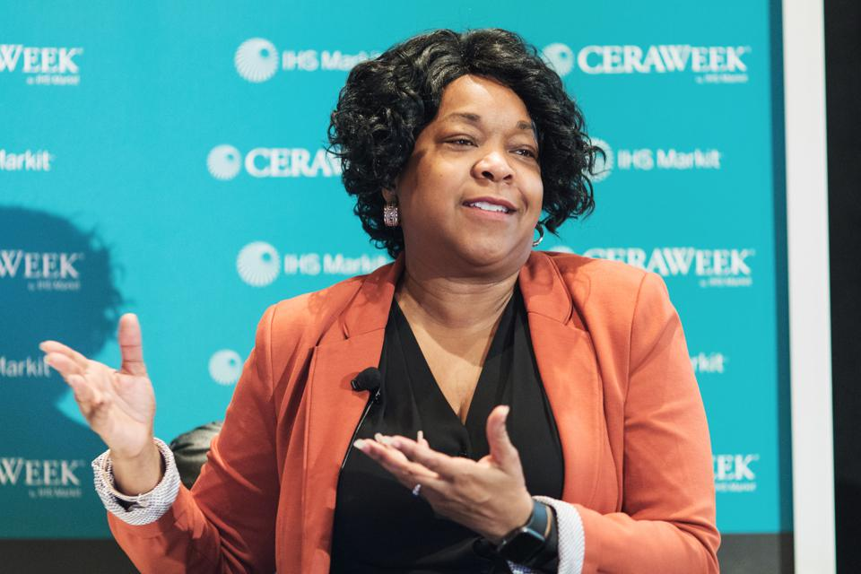 Paula-Gold Williams, president and chief executive of San Antonio-based CPS Energy, speaks during the 2017 CERAWeek by IHS Markit conference in Houston.
