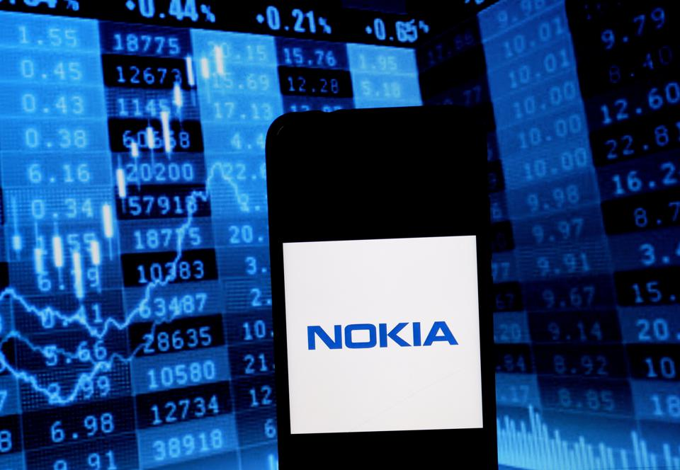 Nokia logo on smartphone screen