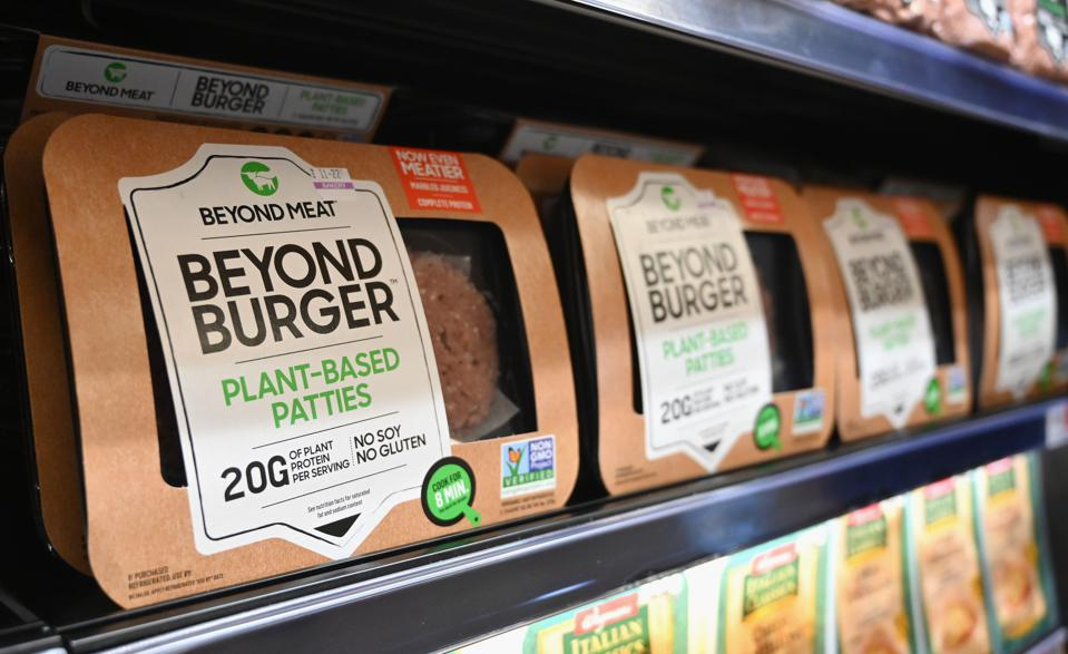 Beyond Burger meat-free products on a supermarket shelf.
