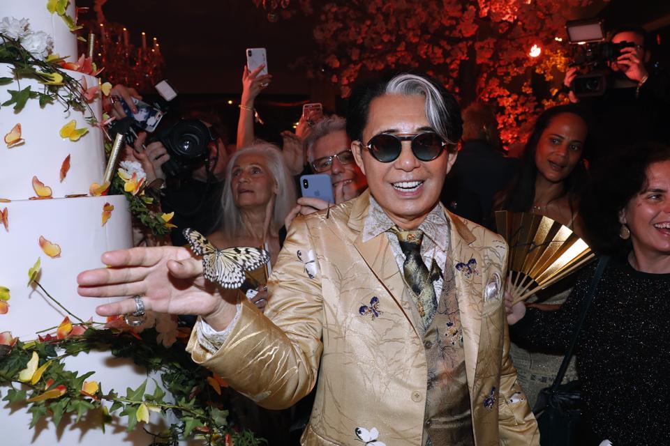 Kenzo Takada last year, celebrates his 80th Birthday at Pavillon Ledoyen in Paris