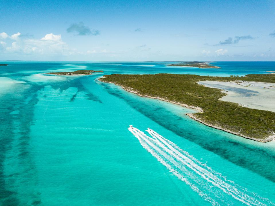 drone bird view of exuma in the bahamas holiday tourism beach ocean vacation covid