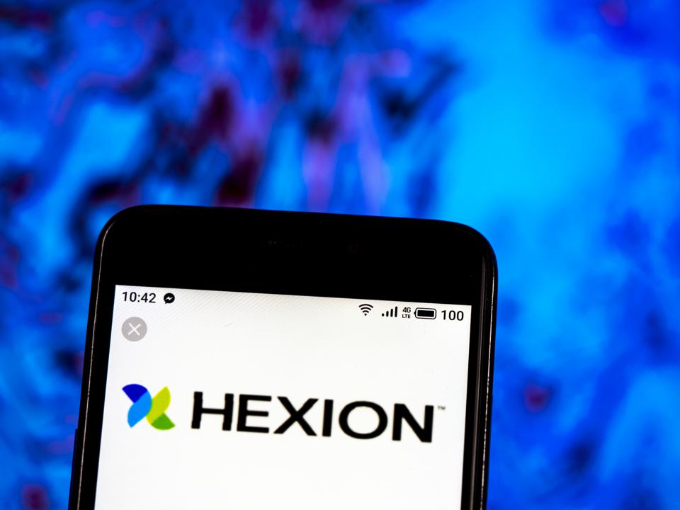 Hexion Inc. Chemicals company logo seen displayed on a smart